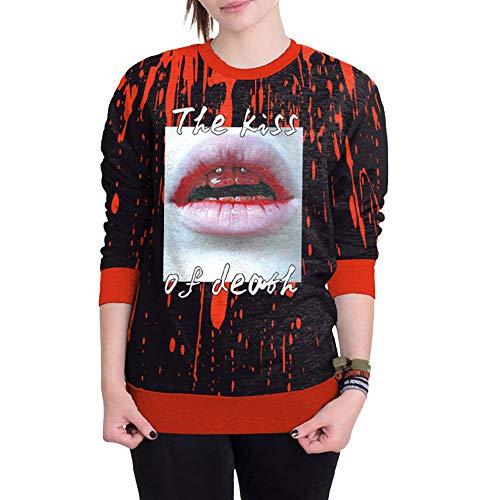 Toimoth Women Halloween Blood 3D Printing Long Sleeve Hoodie Sweatshirt Pullover Top(Black,2XL) -