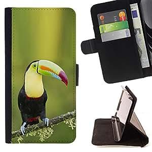 - Tucan bird ornithology species green spring - - Prima caja de la PU billetera de cuero con ranuras para tarjetas, efectivo desmontable correa para l Funny HouseFOR Apple Iphone 5 / 5S