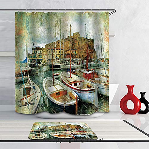 2 Piece Shower Curtain Set Bath Mat Set Print with 12 Hooks SHOWER CURTAIN Set for Bathroom,(66