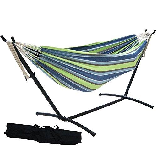 Garden Oasis Furniture (Prime Garden 9' Double Hammock with Space Saving Steel Hammock Stand, Elegant Oasis Stripe)