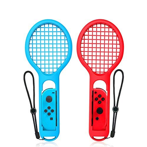 Jushoor Tennis Racket for Nintendo Switch Joy-con, Twin Pack Grips Controller Accessories for Game Mario Tennis Aces (1X Blue & 1X Red)