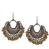 Zephyrr Jewellery Fashion Oxidized Ethnic Silver / Golden Beaded Chandbali Earrings Women