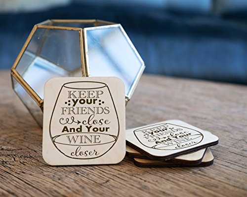 Personalized Coasters - Set of 4 - Keep Your Wine Closer