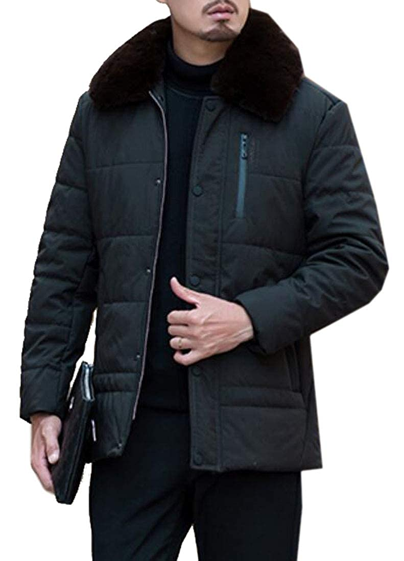 XiaoTianXinMen XTX Men Longline Winter Faux Fur Collar Warm Down Quilted Coat Jacket Outwear