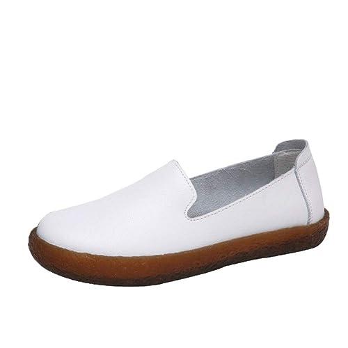 Huatime Loafers Mocasines Mujer Blanco - Clásico Cuero Plano Perezoso Trabajo Comodidad Casual Plataforma Zapatillas para Caminar Zapatos: Amazon.es: ...