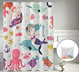 Mermaid Shower Curtain Water-Repellent Kids Fabric Shower Curtain or liner, Underwater Mermaid Princess Cartoon Girl 71X72 Inches, Washable Bathroom Shower Curtains Antibacterial Polyester for Shower Stall, Bathtubs