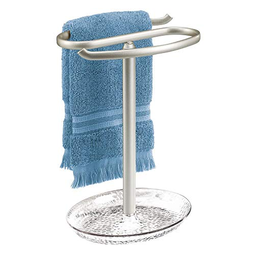 (mDesign Decorative Metal Fingertip Towel Holder Stand with Base Tray for Bathroom Vanity Countertops to Display and Store Small Guest Towels or Washcloths - 2-Sided, 10.5