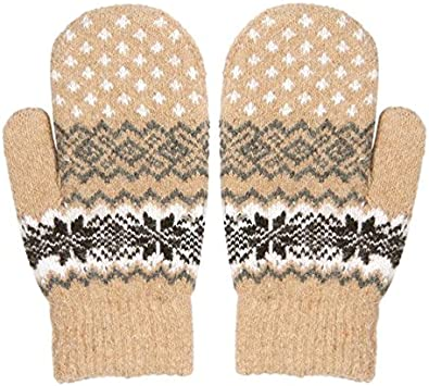 MIOIM Womens Girls Winter Warm Soft Knitted Snowflake Double Layer Mittens Gloves