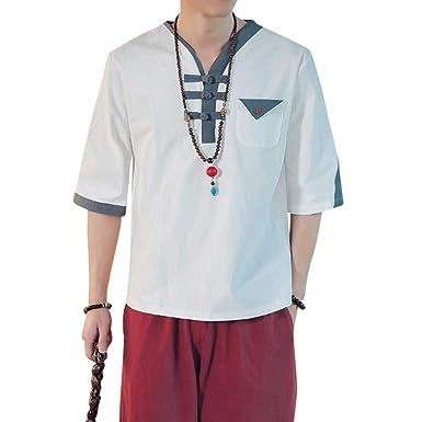 Camisetas Hombre Manga Corta Color Puro Algodón de Cáñamo ...