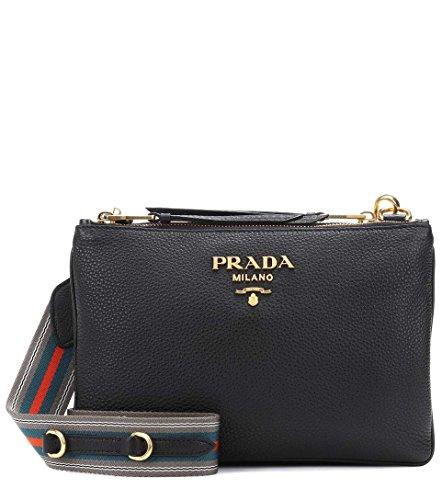 PRADA Bags Cross Body Handbags Black Leather 100% (Authentic Prada Leather Handbag)