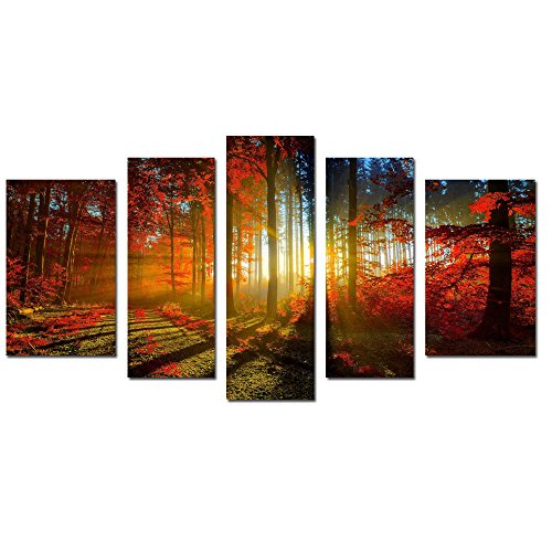 5 Panel Autumn Forest Print Landscape
