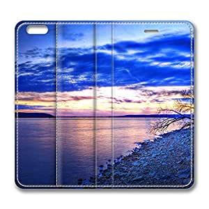 iPhone 6 Leather Case, Personalized Protective Flip Case Cover Evening Shoreline for New iPhone 6