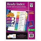 Ready Index Contemporary Table of Contents Divider, 1-12, Multi, Letter, Total 24 ST, Sold as 1 Carton