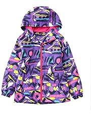 Hiheart Girls Hooded Fleece Lined Active Jacket Outdoor Waterproof Coat Pink