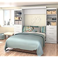 Bestar Furniture 26884-17 Pur 115 Queen Wall Bed Kit Including Two Doors and Six Drawers with Simple Pulls in