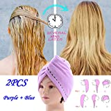 4 Pack Hair Towel Wrap Turban Microfiber Drying Bath Shower Head Towel with Buttons, Quick Magic Dryer, Dry Hair Hat, Wrapped Bath Cap (25×68, Multicolor (2PCS)