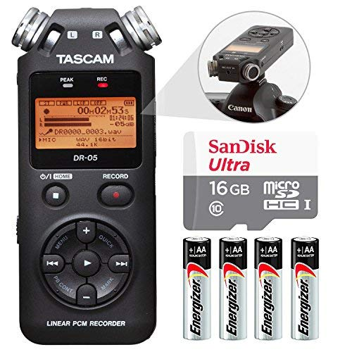 Tascam DR-05 (Version 2) Portable Handheld Digital Audio Recorder (Black) with Basic accessory bundle (Best Portable Field Recorder)