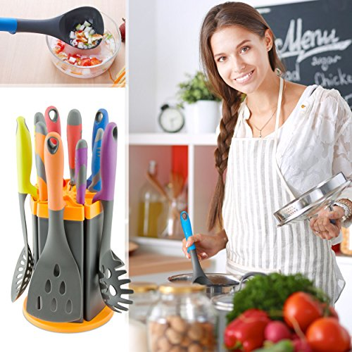 Kitchen Knife and Utensil Set with Rotating Stand