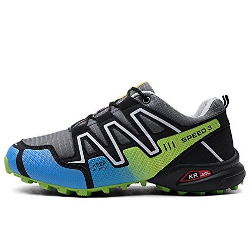 GOMNEAR Trekking en pour d'exécution d'escalade Marche Lacets Hommes Cours Sneakers à Légers de Randonnée antidérapant extérieur Vert Gris de Chaussures rw7XRr