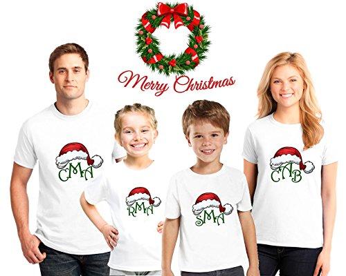 Monogrammed Christmas Family Pajama Matching Shirts,Family Christmas pajama tees ()