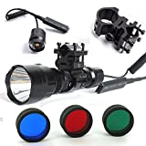 AUKMONT TACTICAL ML C8 T6 1200 LUMEN Red/Green/Blue BEAM FOR AIR RIFLE/RIMFIRE HUNTING LAMP/FLASHLIGHT
