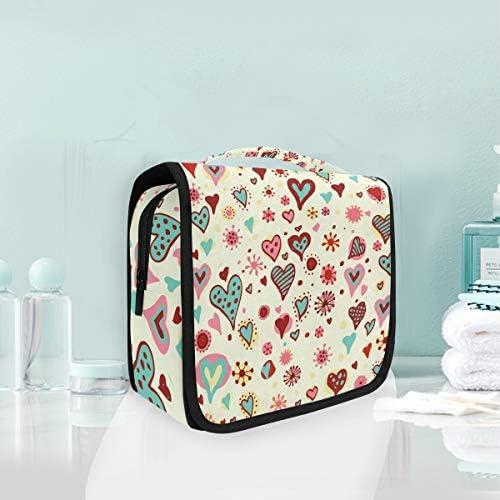 カラフルハートハンギング折りたたみトイレタリー化粧品袋メイク旅行オーガナイザーバッグケース用女性女の子浴室