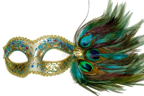 Masquerade Ball Mask Turquoise Peacock Feather Venetian