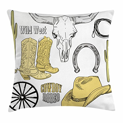 Horse Friends Quilt (Western Throw Pillow Cushion Cover by Ambesonne, Cowboy Rodeo Accessories Skull Lasso Hat Vintage Wheel Horseshoe, Decorative Square Accent Pillow Case, 24 X 24 Inches, Light Brown Black Light Grey)