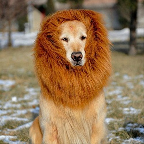 Peicees Lion Mane Costume for Dog Lion Wig Large Dog Costumes for Halloween Party Fancy Lion Hair Brown