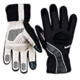 Balnna Winter Warm Gloves, Men's and Women's Reflective Ultra Thermal Cycling Bike with Thick Gel Padding Ski Gloves Touch Screen