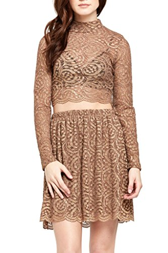 Womens Fashion Metallic Threaded Lace Floral Mesh Crop Top USA BR L - Metallic Lace Ruffle Top