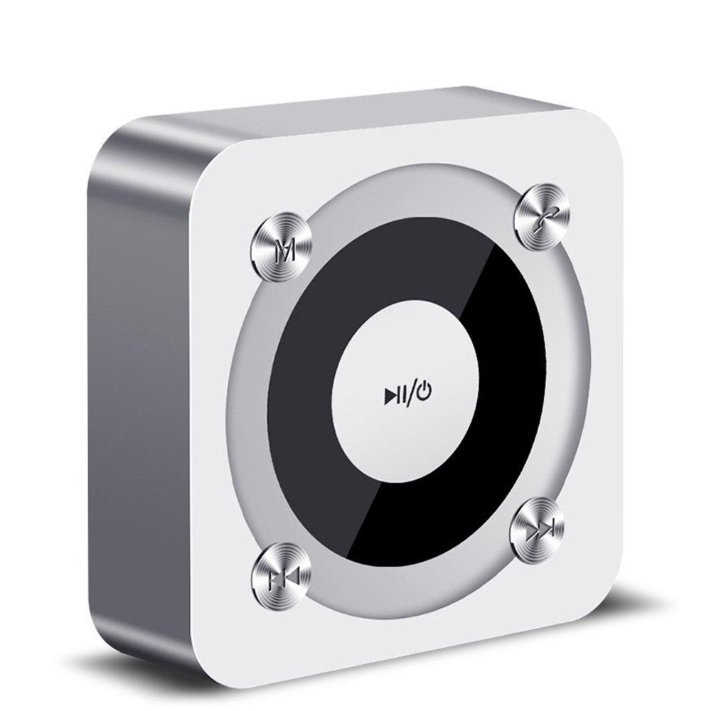 TALLA silver. Altavoz Bluetooth, Elec Portátil Mini Recargable de Viaje para Uso en Interiores, micrófono Incorporado, Sonido estéreo, línea AUX y Ranura para Tarjeta TF (Silver)