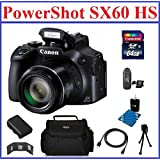 Canon PowerShot SX60 HS Digital Camera Bundle; NB-10L Battery, 64GB SDXC High Speed Memory Card, Camera Bag, Mini Tripod, Card Reader, Lens Cleaning Kit, Memory Card Wallet and Mini HDMI Cable