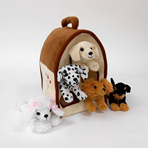 Plush Dog House -Five (5) Stuffed Animal Dogs (Dalmation, Yellow Lab, Rottweiler, Poodle, Cocker Spaniel) in Play Dog House Carrying House -