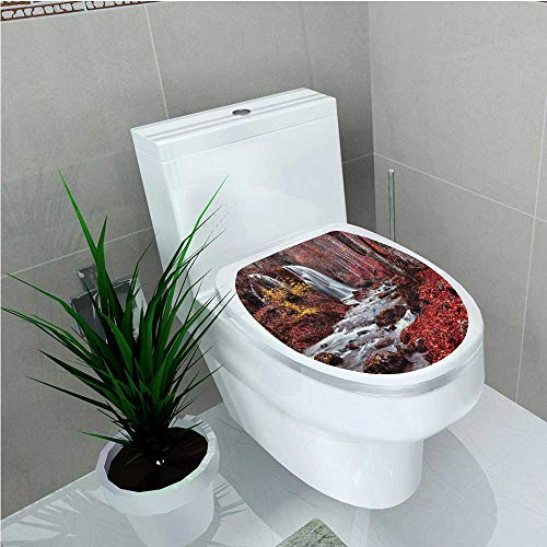 aolankaili Toilet Seat Sticker Silver Stream Waterfall in Fall Forest of Grand Canyon Idyllic Nature Photo Red W12 x L14