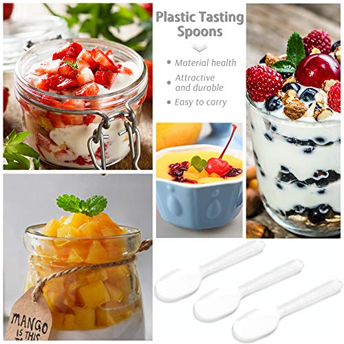 3 otters 100PCS Plastic Tasting Spoons, Disposable Mini Tasters 3.5inch Plastic Spoon Great Disposable Spoons, Extra Sturdy, BPA Free