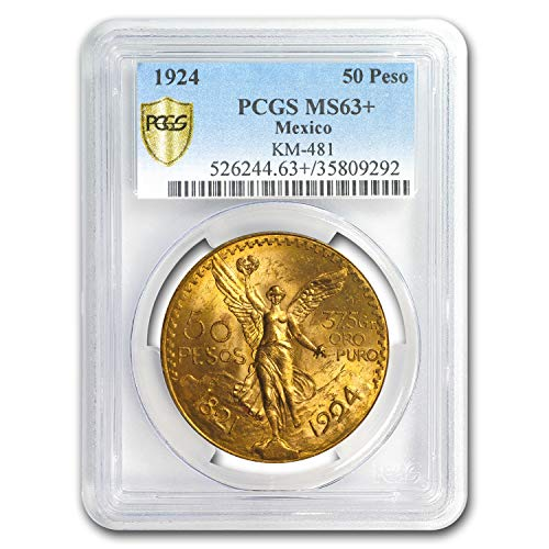 1924 MX Mexico Gold 50 Pesos MS-63+ PCGS Gold MS-63 PCGS