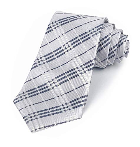 Elfeves Men's Classic Checks White Red Jacquard Woven Silk Tie Formal - Wholesale Designer Suits