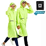 Rain Poncho Long Reflective Waterproof Raincoat with Hood for Men Adult