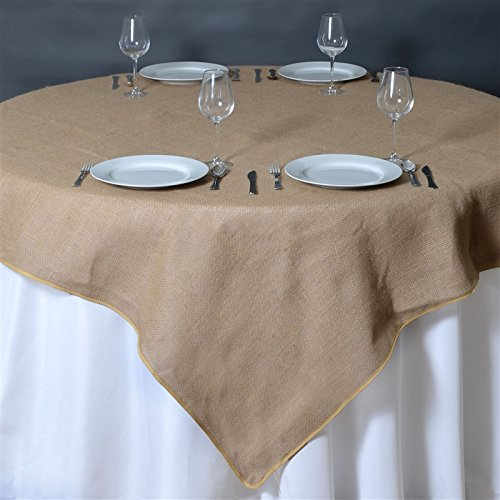 BalsaCircle 72x72-Inch Natural Brown Burlap Table Overlays - Wedding Reception Party Catering Table Linens Decorations -