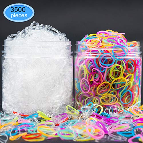 EAONE Elastic Hair Bands 3500 Pieces, Rubber Hair Ties 1500pcs Clear Hair Elastics + 2000pcs Candy Color Headbands with Box Packaged for Girls ()
