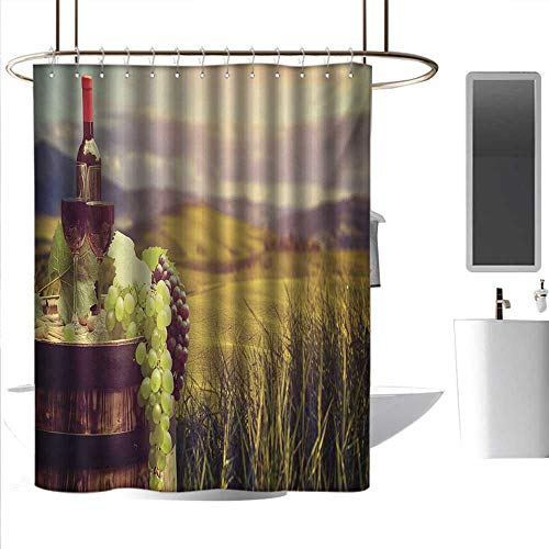 Shower Curtains Blue Complete Set Wine,Italy Tuscany Landscape Rural Vineyard Autumn Harvest Grapes Drink Viticulture,Green Black Brown,W55 x L84,Shower Curtain for Men