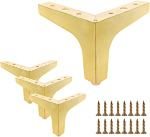 Bitray 4 Pcs 4 Inch Height Furniture Legs, Metal Polished Gold Plating Triangle Furniture Feet for Cabinet Cupboard Sofa Couch Chair