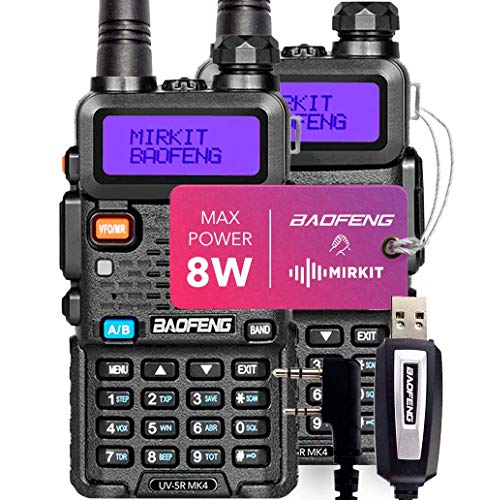 2PCs Baofeng Radios UV-5R MK4 8 Watt MP Max Power with Programming Cable Compatible with Baofeng Ham Radio Mirkit Edition