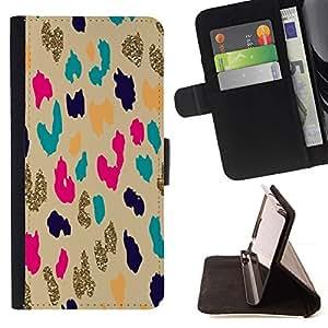 Momo Phone Case / Flip Funda de Cuero Case Cover - Patrón del guepardo del leopardo del oro Animal - HTC One M9