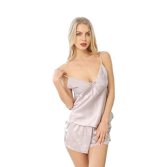 DASENLIN Pijama Ropa Interior De Seda Pijama Atractivos Simples Mujeres De Origen Traje Atractivo, M