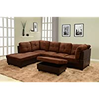 Lifestyle Coffee 3-Piece Microfiber & Faux Leather Left-Facing Sectional Sofa Set with Free Storage Ottoman
