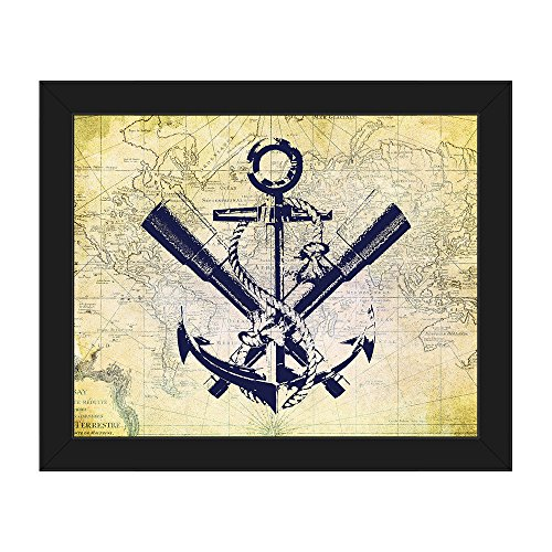 Anchor - Map: Periscopes, Rope & Anchor Graphic on Distressed Vintage Antique French Map for Beach House Wall Art Print on Canvas with Black Frame (French Antique Rope)