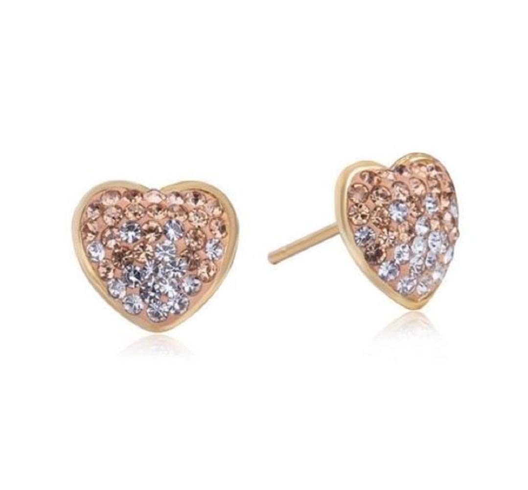 h5/_jc 1 Pair Women Gold Tone Micro Pave Iced Out 10mm Big Bling Heart Shape Stud Earrings