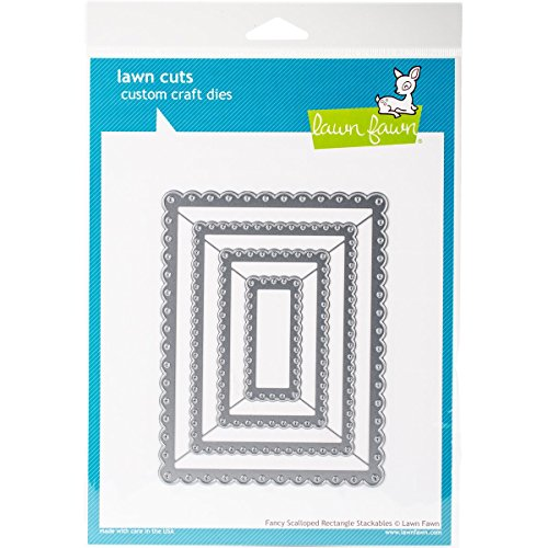 Lawn Fawn Lawn Cuts Custom Craft Die - Fancy Scalloped Rectangle Stackables - Rectangle Scallop